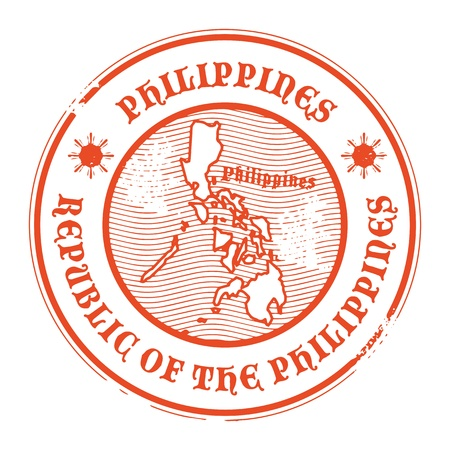 Grunge rubber stamp with the name and map of Philippines Vector