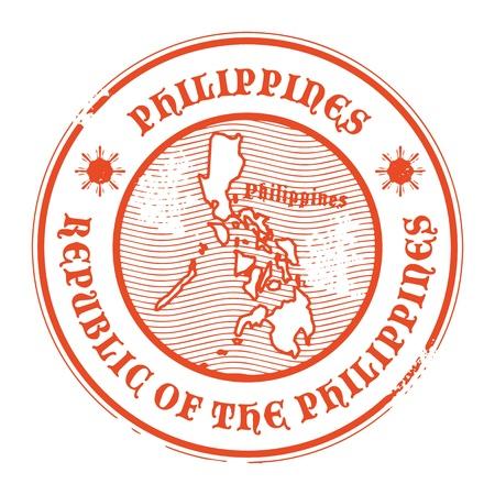 manila: Grunge timbro di gomma con il nome e la mappa delle Filippine Vettoriali