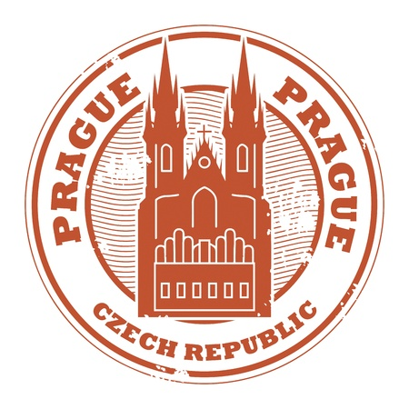 Grunge rubber stamp with the name of Prague, Czech Republic written inside the stamp Vector