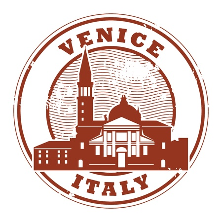 venice italy: Grunge rubber stamp with words Venice, Italy inside