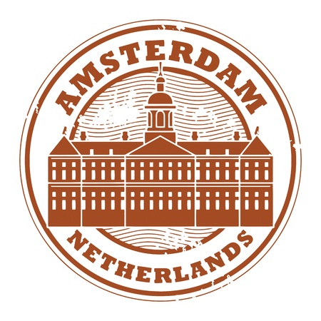 Grunge rubber stamp with words Amsterdam, Netherlands inside Ilustrace