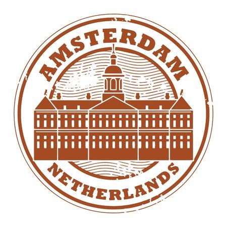 the netherlands: Grunge stempel met de woorden Amsterdam, Nederland binnen