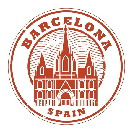 destinations: Grunge rubber stamp with words Barcelona, Spain inside