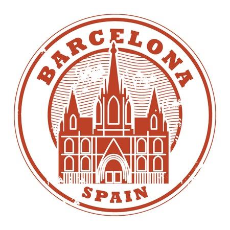 barcelone: Tampon en caoutchouc grunge avec des mots Barcelone, Espagne int�rieur Illustration