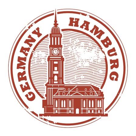 european culture: Grunge rubber stamp with words Hamburg, Germany inside