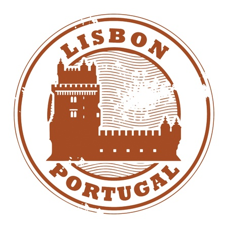belem: Grunge rubber stamp with Belem Tower and the words Lisbon, Portugal inside Illustration