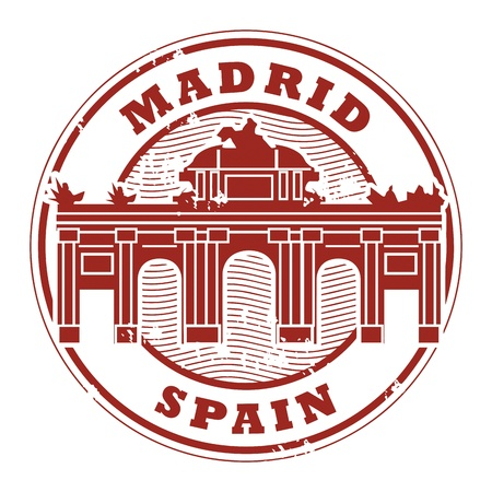Grunge rubber stamp with words Madrid, Spain inside