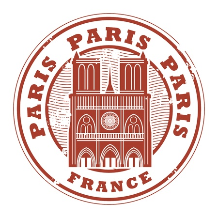Grunge rubber stamp with the name of Paris, France written inside the stamp Vector