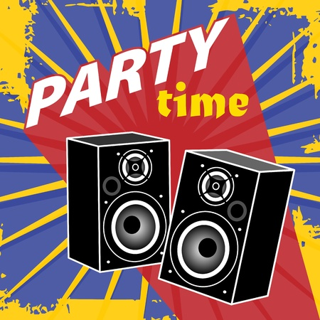 Abstract background with the speakers and text Party time written inside Stock Vector - 19796753
