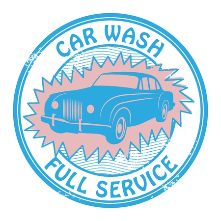 Abstract grunge rubber stamp with the words car wash written inside Vector