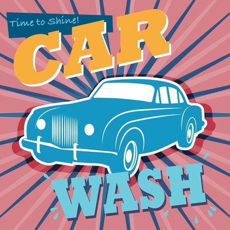 car wash: Retro car wash sign Illustration