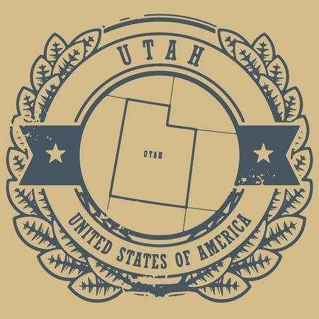 Grunge rubber stamp with name and map of Utah, USA Vector