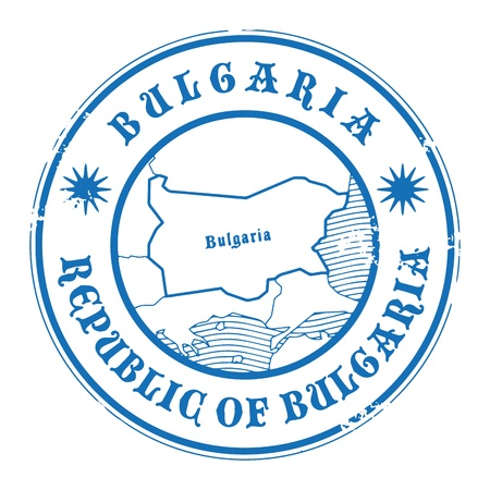 Grunge rubber stamp with the name and map of Bulgaria Vector