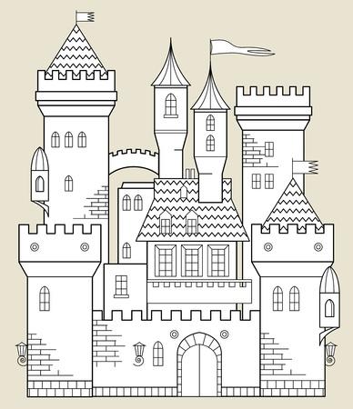 castillo medieval: Castillo de cuento de hadas Vectores
