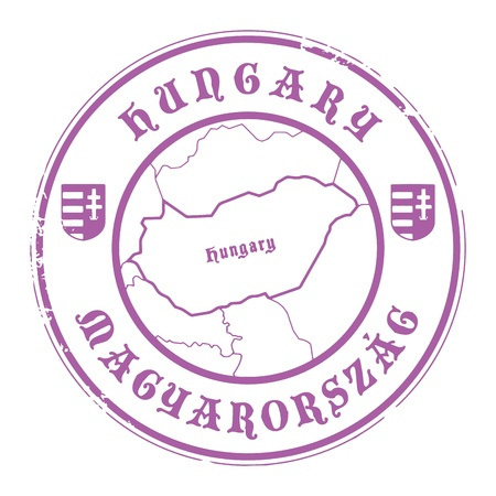 identifier: Grunge rubber stamp with the name and map of Hungary