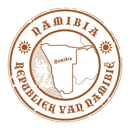 Grunge rubber stamp with the name and map of Namibia Vector
