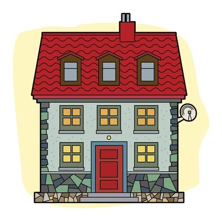modern huis: Huis met rood dak Stock Illustratie