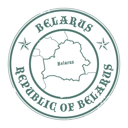magyar: Grunge rubber stamp with the name and map of Belarus