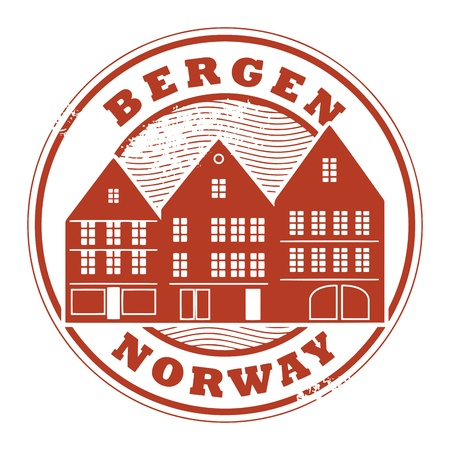 Grunge rubber stamp with words Bergen, Norway inside Vector