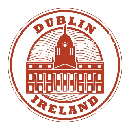 irish cities: Grunge rubber stamp with Dublin, Ireland inside