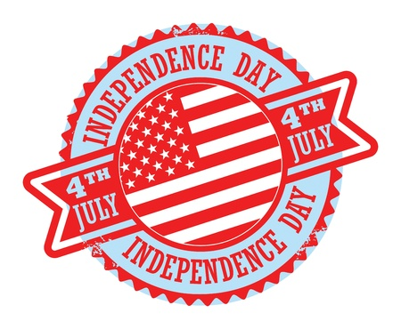 Grunge rubber stamp with text 4 July Independence Day Vector