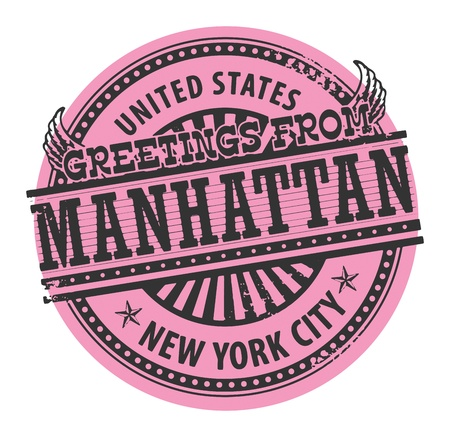 Grunge rubber stamp with text Greetings from Manhattan, New York City Vector