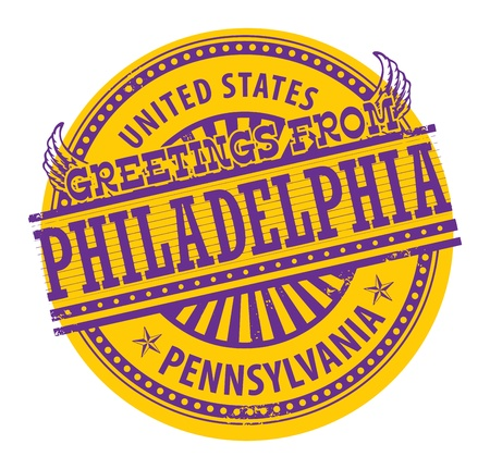 Grunge rubber stamp with text Greetings from Philadelphia, Pennsylvania Vector
