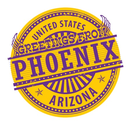 phoenix arizona: Grunge rubber stamp with text Greetings from Phoenix, Arizona Illustration