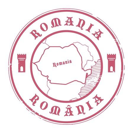 Tampon en caoutchouc grunge avec le nom et la carte de la Roumanie