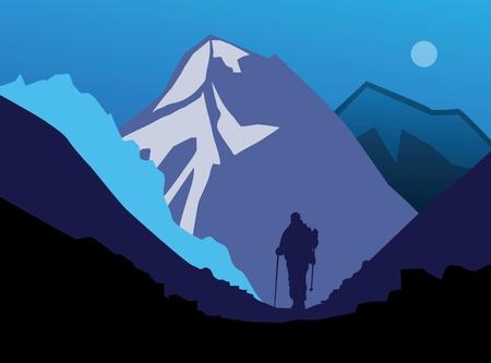 Hiker in de bergen Vector Illustratie