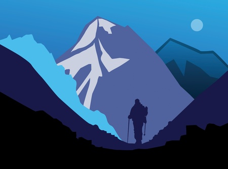 Hiker in mountains Vector