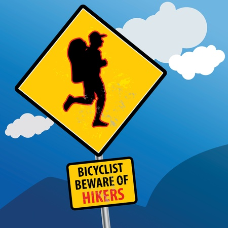 trekker: Bicyclist beware of hikers sign Illustration