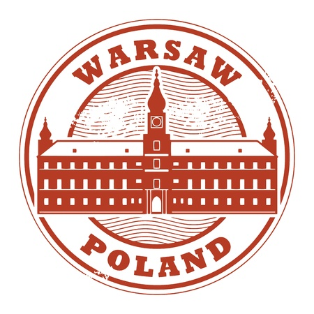 warsaw: Grunge rubber stamp with words Warsaw, Poland inside
