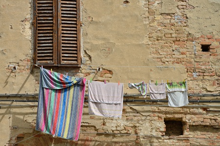 Laundry in the old city, Italy photo