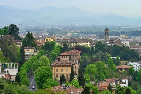 View to the Bergamo city, Italy photo