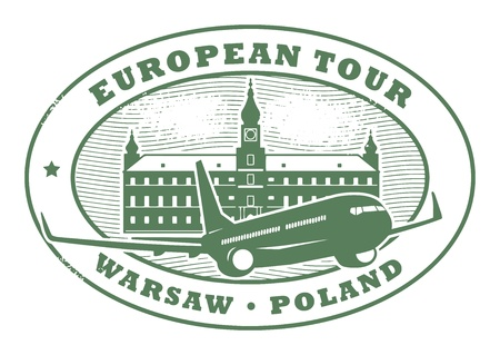 warsaw: Stamp with words European Tour, Warsaw, Poland inside