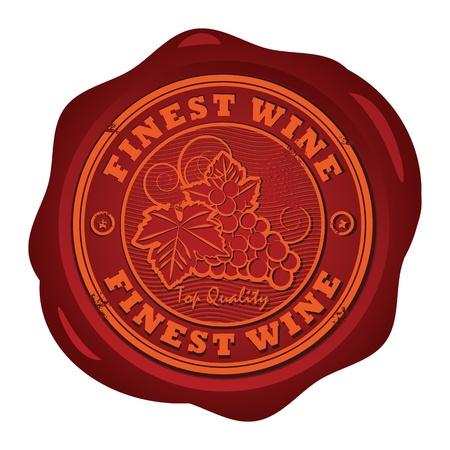 druckerei: Wachssiegel mit den Worten Fines Wine