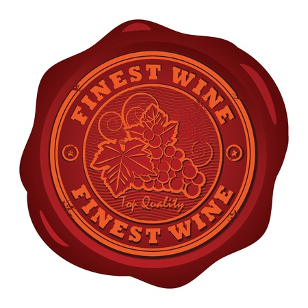 wax stamp: Wax seal with the words Fines Wine Illustration