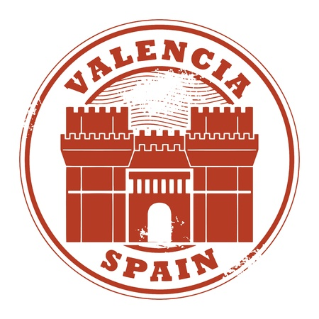valencia: Grunge rubber stamp with words Valencia, Spain inside Illustration