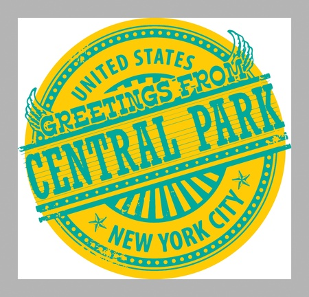 central park: Grunge sello de goma con el texto saludos de Central Park, Nueva York