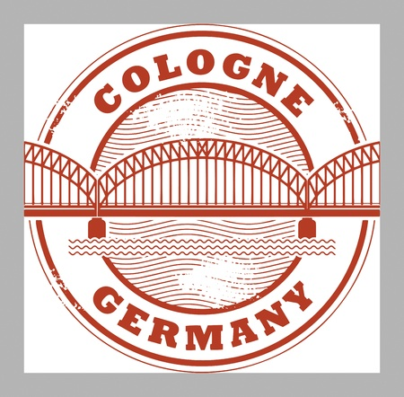cologne: Grunge rubber stamp with words Cologne, Germany inside Illustration