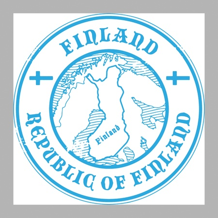Grunge rubber stamp with the name and map of Finland Vector