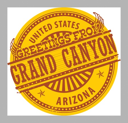 grand canyon: Grunge rubber stamp with text Greetings from Grand Canyon, Arizona Illustration