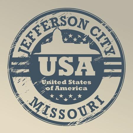 jefferson: Grunge rubber stamp with name of Missouri, Jefferson City Illustration