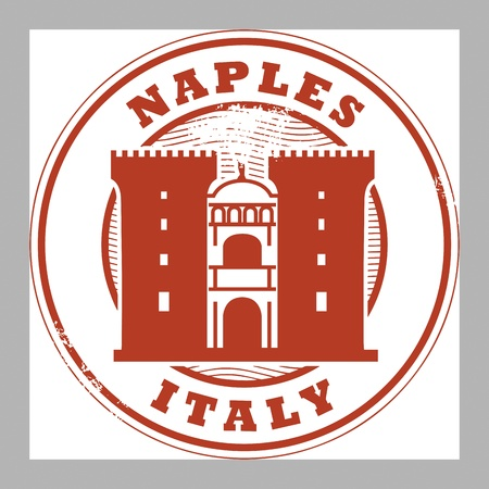 naples: Grunge rubber stamp with words Naples, Italy inside