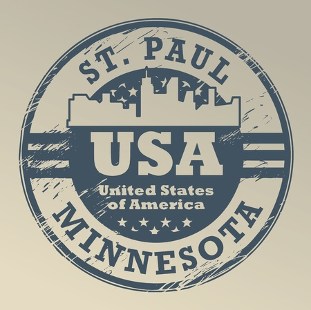paul: Grunge rubber stamp with name of Minnesota, St  Paul