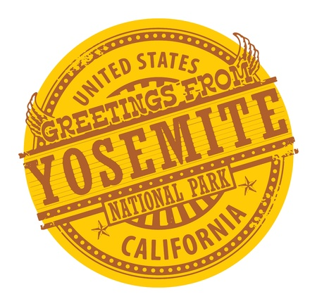 Grunge rubber stamp with text Greetings from Yosemite, California