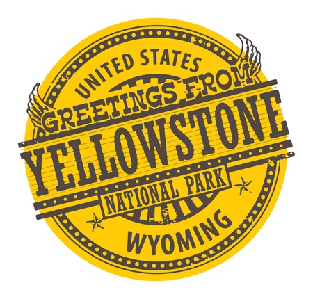 Grunge rubber stamp with text Greetings from Yellowstone, Wyoming