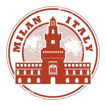 밀라노: 내부 단어 밀라노, 이탈리아 그런 지 고무 스탬프
