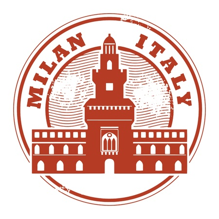 Grunge rubber stamp with words Milan, Italy inside Vector